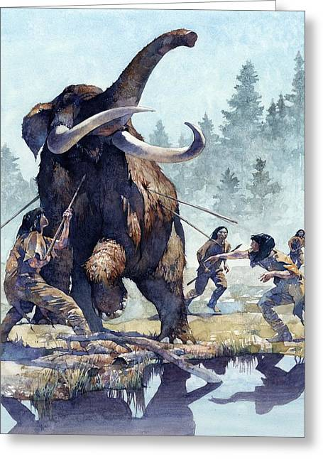 Paleontology Greeting Cards - Mastodon Hunt Greeting Card by Greg Harlin