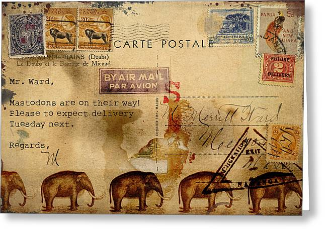 Grungy Digital Greeting Cards - Mastodons Are On Their Way Greeting Card by Carol Leigh