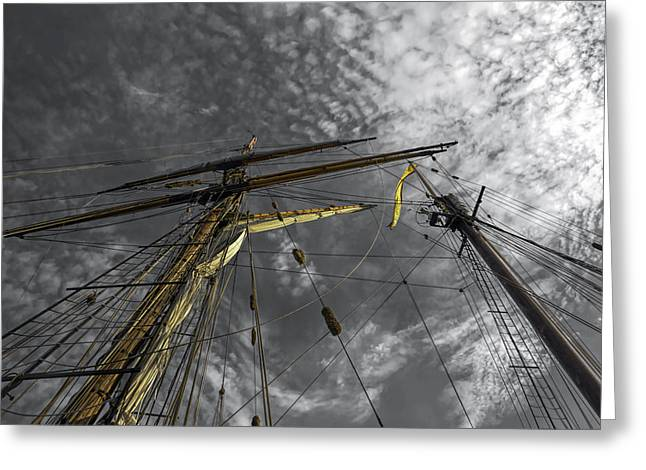 Wooden Ship Greeting Cards - Masts and Rigging Greeting Card by Richard Macquade