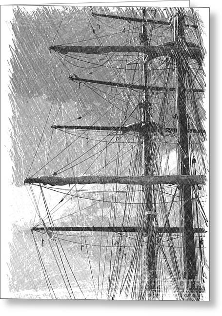 Old Ship Art Greeting Cards - Masts - Black and White Greeting Card by Carol Groenen