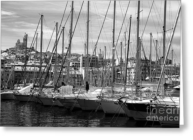 Sailboats In Water Greeting Cards - Masts in the Harbor Greeting Card by John Rizzuto