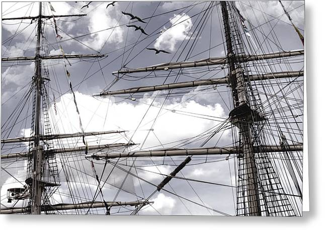 Masts Of Sailing Ships Greeting Card by Evie Carrier