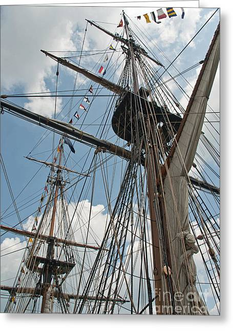 Masts Greeting Cards - Masts of the tall-ship Greeting Card by Oleksandr Koretskyi