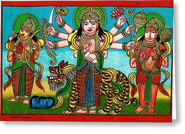 Hindu Goddess Paintings Greeting Cards - Mata Durga Greeting Card by Ashok Kumar