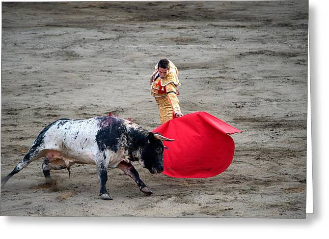 Courage Photographs Greeting Cards - Matador And A Bull In A Bullring, Lima Greeting Card by Panoramic Images