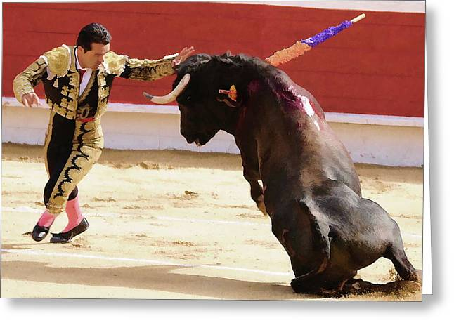 Mexican Fighters Greeting Cards - Matador Touching Bull Greeting Card by Clarence Alford