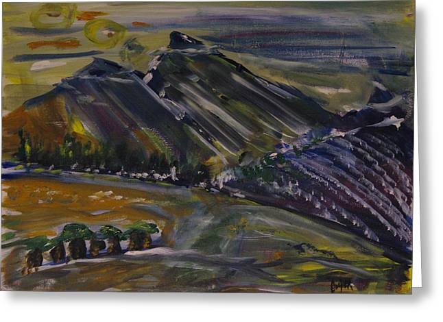 Pamela Cooper Paintings Greeting Cards - Matara Mountians Greeting Card by Pamela Cooper
