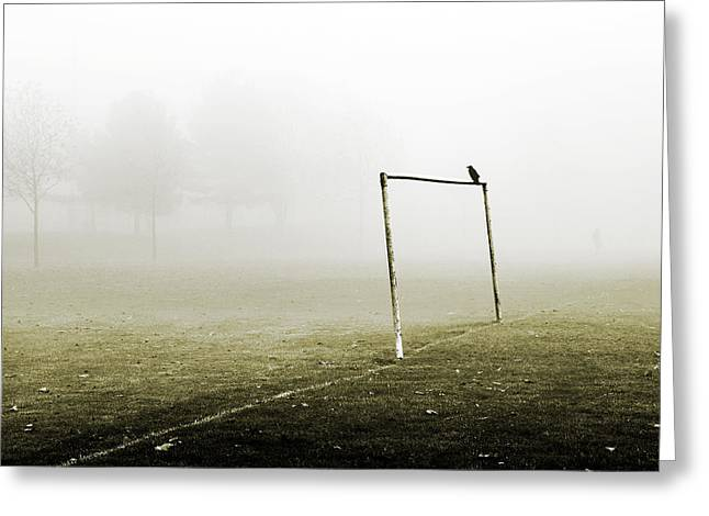 Soccer Goal Greeting Cards - Match Abandoned Greeting Card by Mark Rogan
