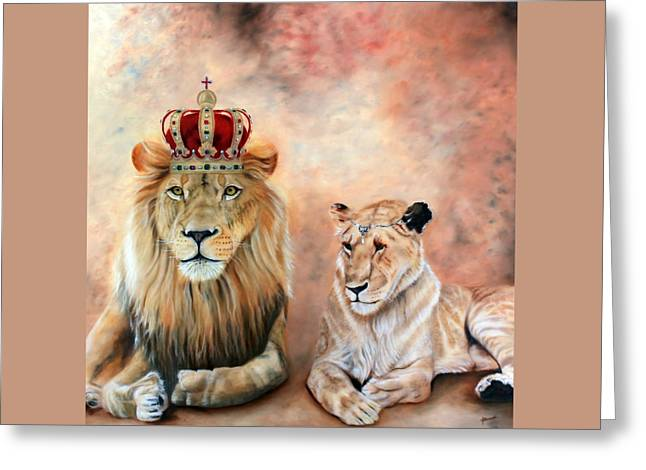 Jesus The Lion Of Judah Greeting Cards - Match made in Heaven Greeting Card by Jeanette Sthamann