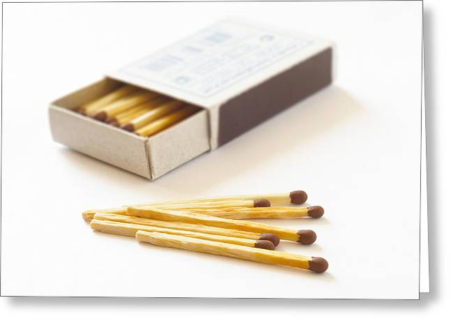 Cardboard Greeting Cards - Matchbox and Matches Greeting Card by Alain De Maximy