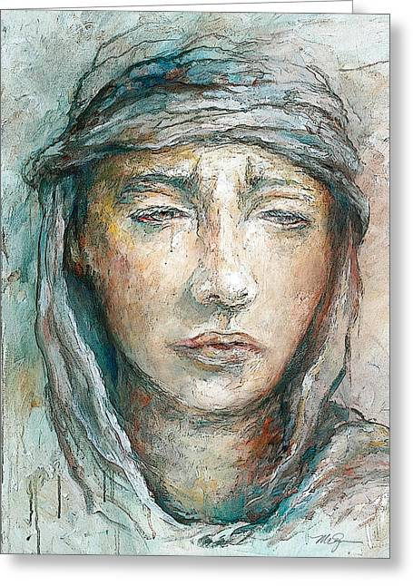 Lady Of Sorrow Greeting Cards - Mater Dolorosa Greeting Card by Mary Zins