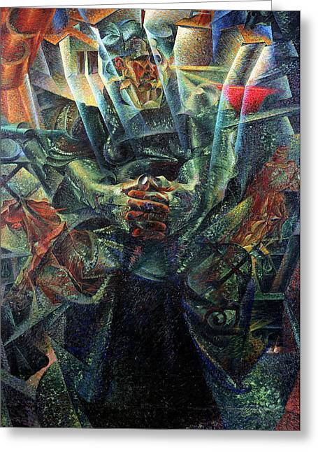 Clasped Greeting Cards - Materia, 1912 Oil On Canvas Greeting Card by Umberto Boccioni