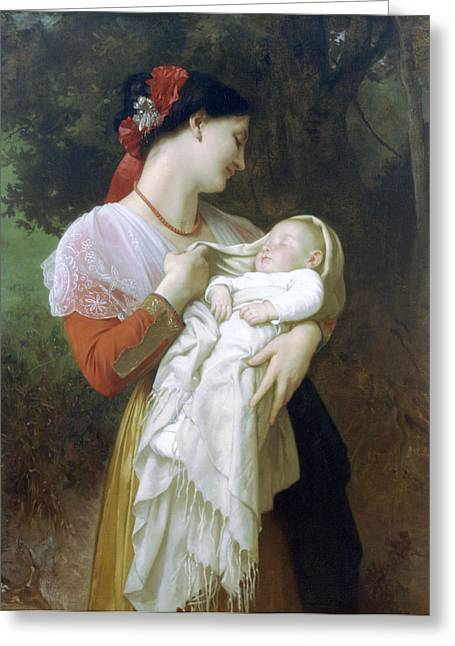 Old Masters Greeting Cards - Maternal Admiration Greeting Card by William Bouguereau