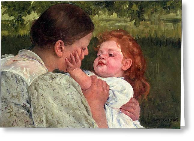 Cassatt Paintings Greeting Cards - Maternal Caress Greeting Card by Mary Stevenson Cassatt