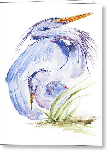 Baby Bird Paintings Greeting Cards - Maternal Heron Greeting Card by Eve McCauley