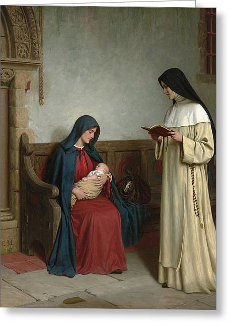 Recently Sold -  - Rosary Greeting Cards - Maternity Greeting Card by Edmund Blair Leighton