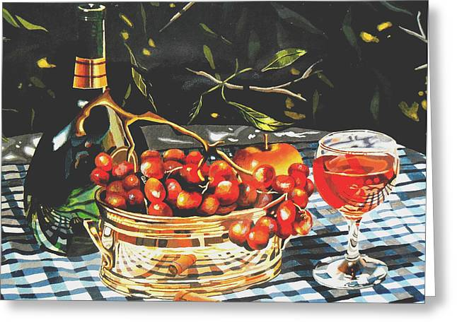 Checked Tablecloths Paintings Greeting Cards - Mateus Rose in dappled light Greeting Card by Jeni Hodgson-Craig