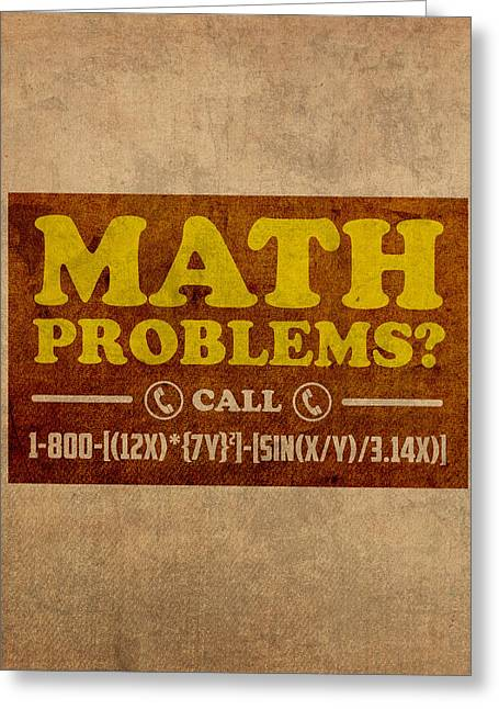 Problem Greeting Cards - Math Problems Hotline Retro Humor Art Poster Greeting Card by Design Turnpike