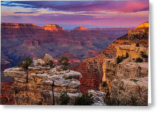 South Kaibab Trail Greeting Cards - Mather Point Greeting Card by Adam  Schallau