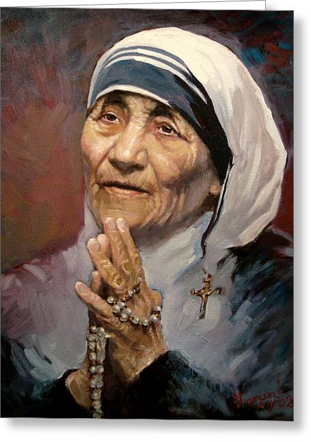 Portrait Of Mother Teresa Greeting Cards - Mather Teresa Greeting Card by Ylli Haruni