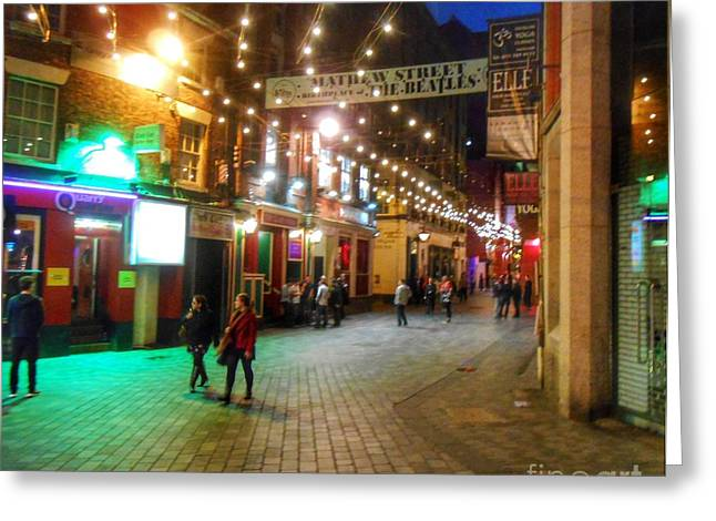 Cavern Club . Greeting Cards - Mathew Street at Night Greeting Card by Joan-Violet Stretch