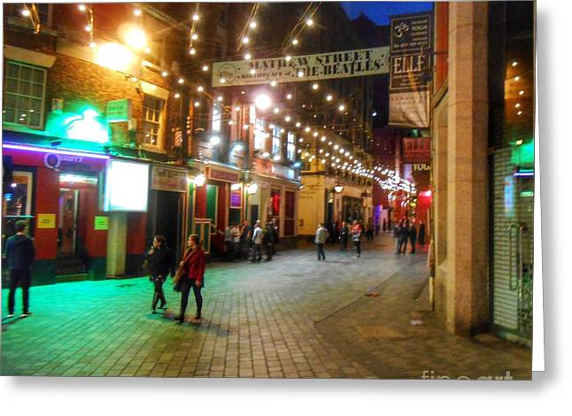 Mathew Street At Night Greeting Card by Joan-Violet Stretch