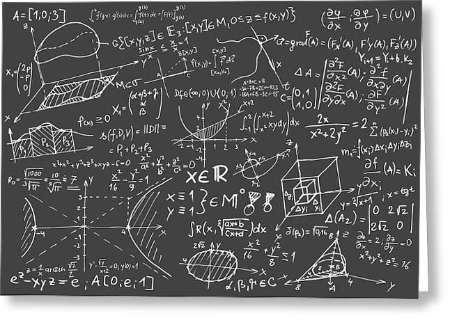 Maths Greeting Cards - Maths blackboard Greeting Card by Gina Dsgn