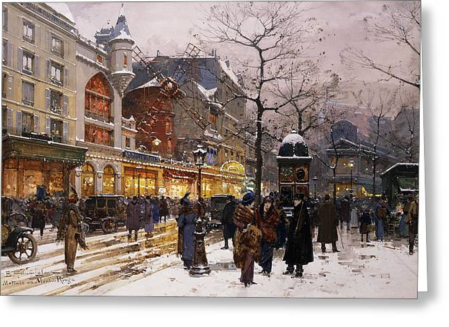 Mid-adult Greeting Cards - Matinee au Moulin Rouge Paris Greeting Card by Eugene Galien-Laloue