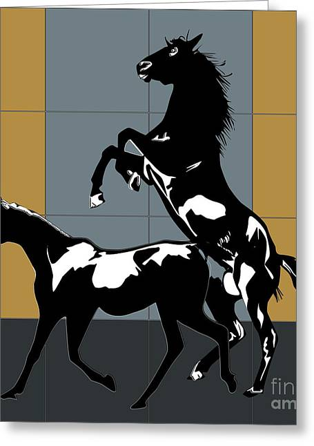 Dressing Room Digital Art Greeting Cards - Mating Horses Greeting Card by Roby Marelly