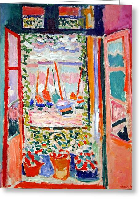 Cora Wandel Greeting Cards - Matisses Open Window At Collioure Greeting Card by Cora Wandel