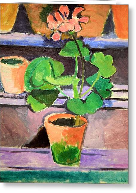 Matisse's Pot Of Geraniums Greeting Card by Cora Wandel