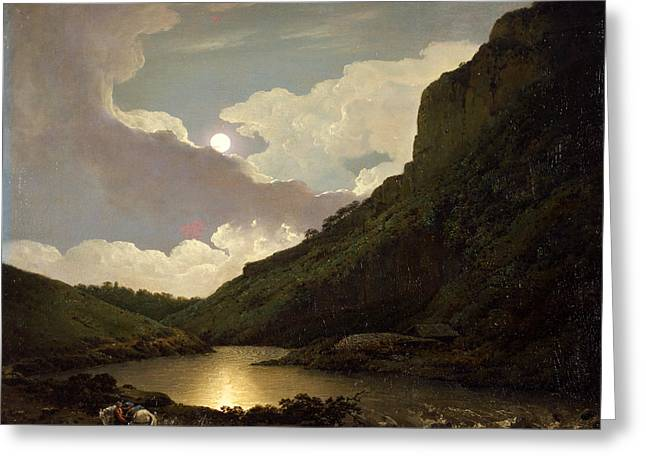 Tor Paintings Greeting Cards - Matlock Tor by Moonlight  Greeting Card by Joseph Wright of Derby