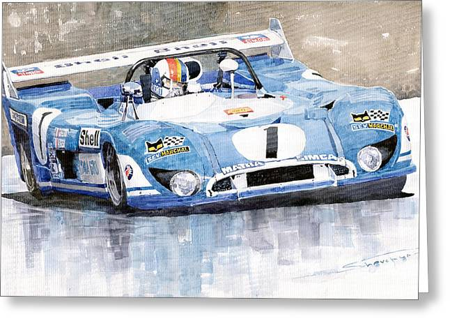 Francois Paintings Greeting Cards - Matra Simca 670 Francois Cevert Greeting Card by Yuriy  Shevchuk