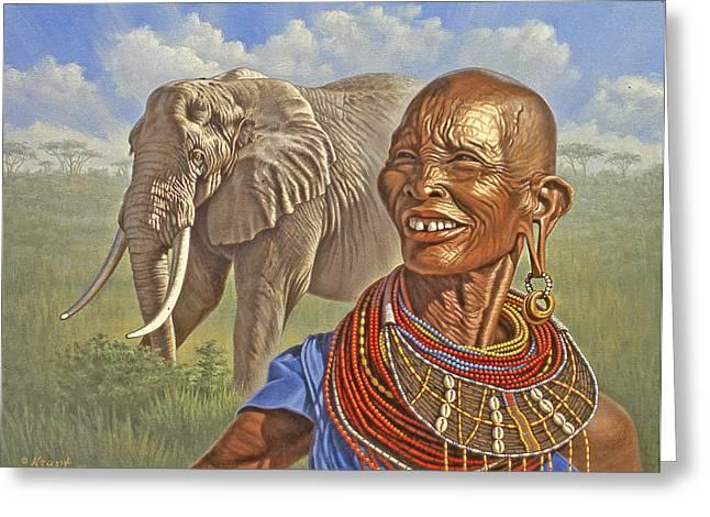 Elephants Greeting Cards - Matriarchs   Greeting Card by Paul Krapf