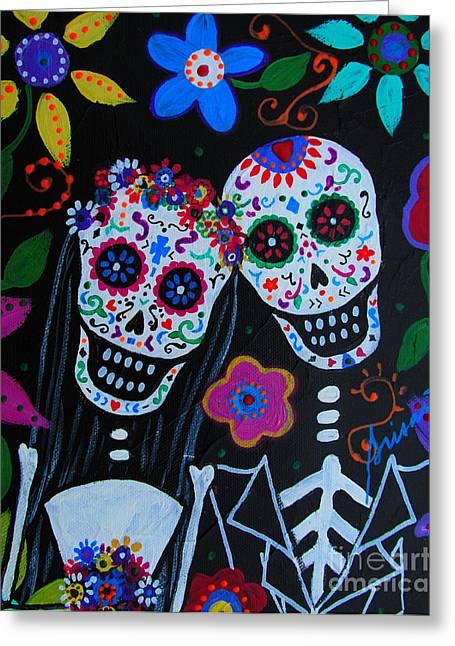 Lovers Of The Sun Greeting Cards - Matrimonio Dia De Los Muertos Greeting Card by Pristine Cartera Turkus