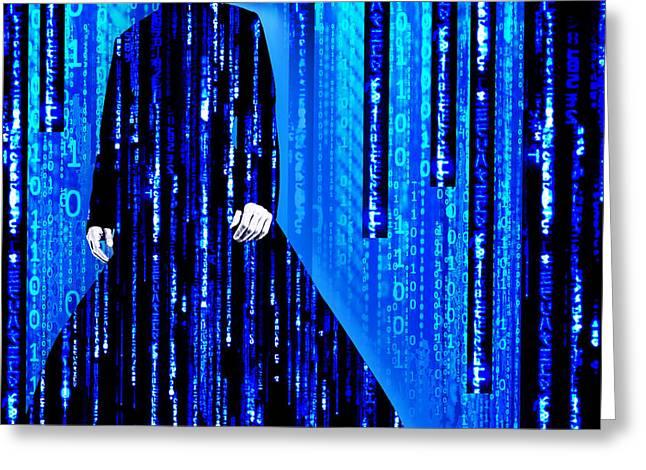 Science Fiction Art Mixed Media Greeting Cards - Matrix Neo Keanu Reeves 2 Greeting Card by Tony Rubino