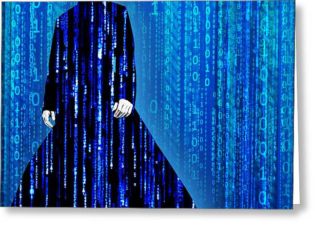 Matrix Neo Keanu Reeves Greeting Card by Tony Rubino