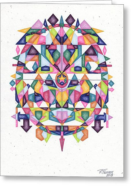 Sacred Drawings Greeting Cards - Matrix of Self Confidence Series Greeting Card by Ruthie Ferrone
