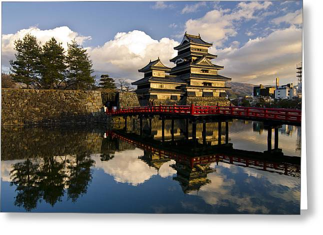 Unesco Greeting Cards - Matsumoto Reflection Greeting Card by Aaron S Bedell