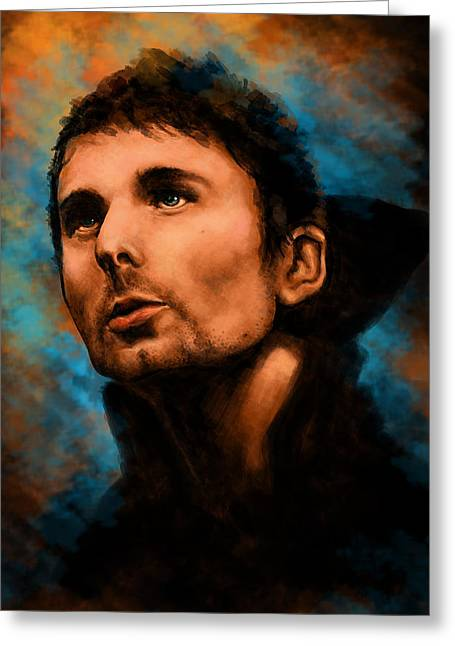Second Hole Greeting Cards - Matt Bellamy Greeting Card by J England