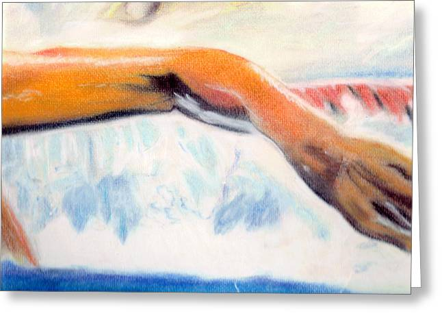 Swimmers Pastels Greeting Cards - Matt Biondi -Strong Arms Greeting Card by Paul Frederick Bush