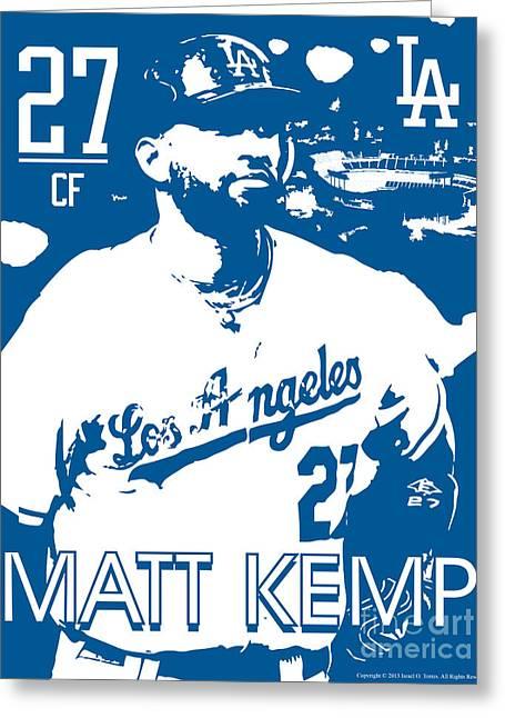 Los Angeles Dodgers Drawings Greeting Cards - Matt Kemp Greeting Card by Israel Torres
