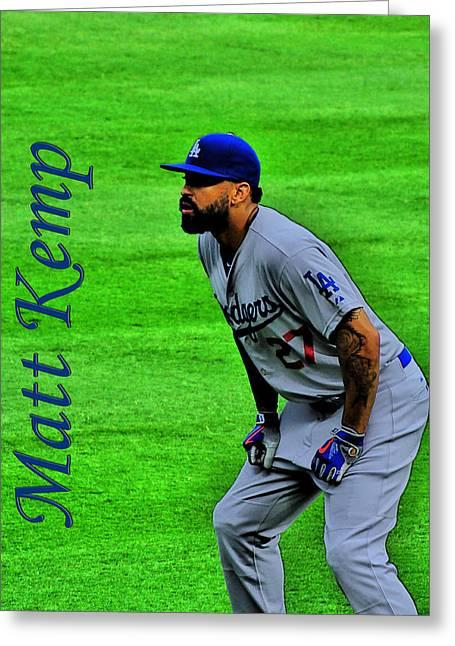 Matt Kemp Mixed Media Greeting Cards - Matt Kemp Greeting Card by Sonja Dover
