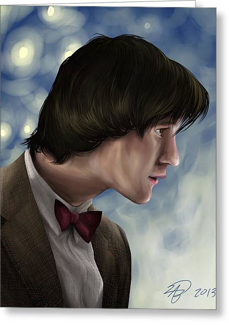 Eleventh Doctor Greeting Cards - Matt Smith as the Doctor Greeting Card by Alison Baker