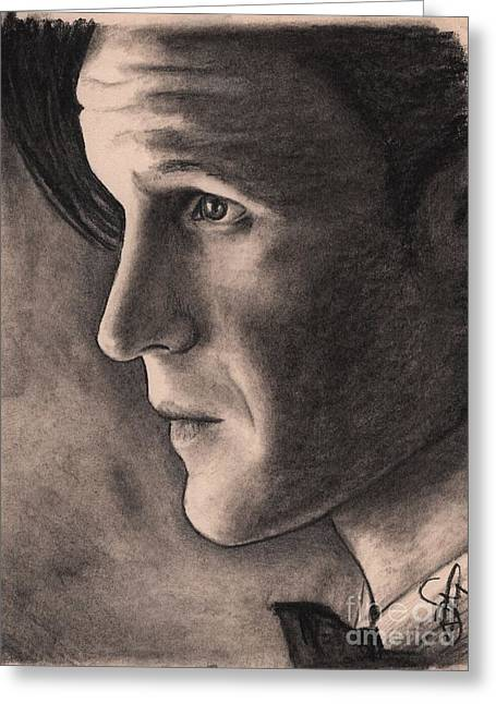 Charcoal Portrait Greeting Cards - Matt Smith Greeting Card by Rosalinda Markle