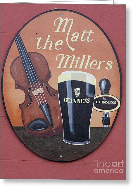 Labelled Greeting Cards - Matt The Millers Pub Sign Greeting Card by Christiane Schulze Art And Photography
