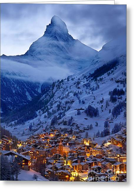 Snowy Night Greeting Cards - Matterhorn at Twilight Greeting Card by Brian Jannsen