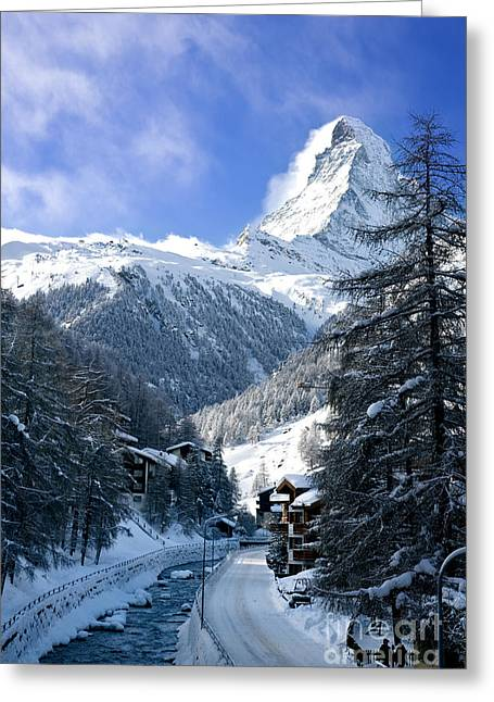 Ski Village Greeting Cards - Matterhorn  Greeting Card by Brian Jannsen
