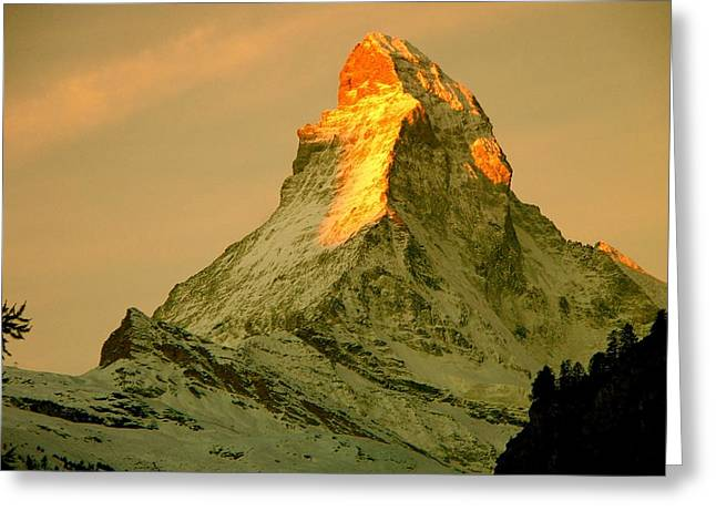 Best Sellers -  - Swiss Photographs Greeting Cards - Matterhorn in Switzerland Greeting Card by Monique Wegmueller