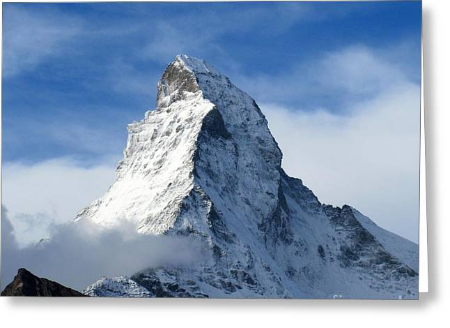 Snow Capped Greeting Cards - Matterhorn Greeting Card by Lynn R Morris